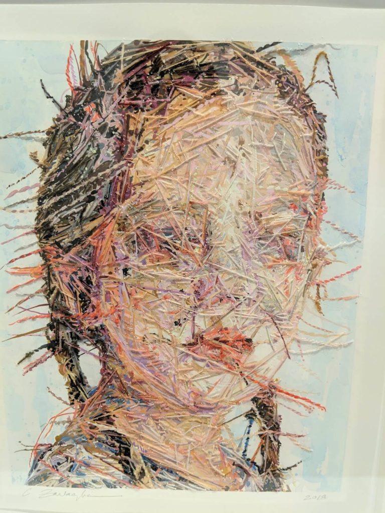 עבודת רקמה במיקסד מדיה של Cayce Zavaglia
