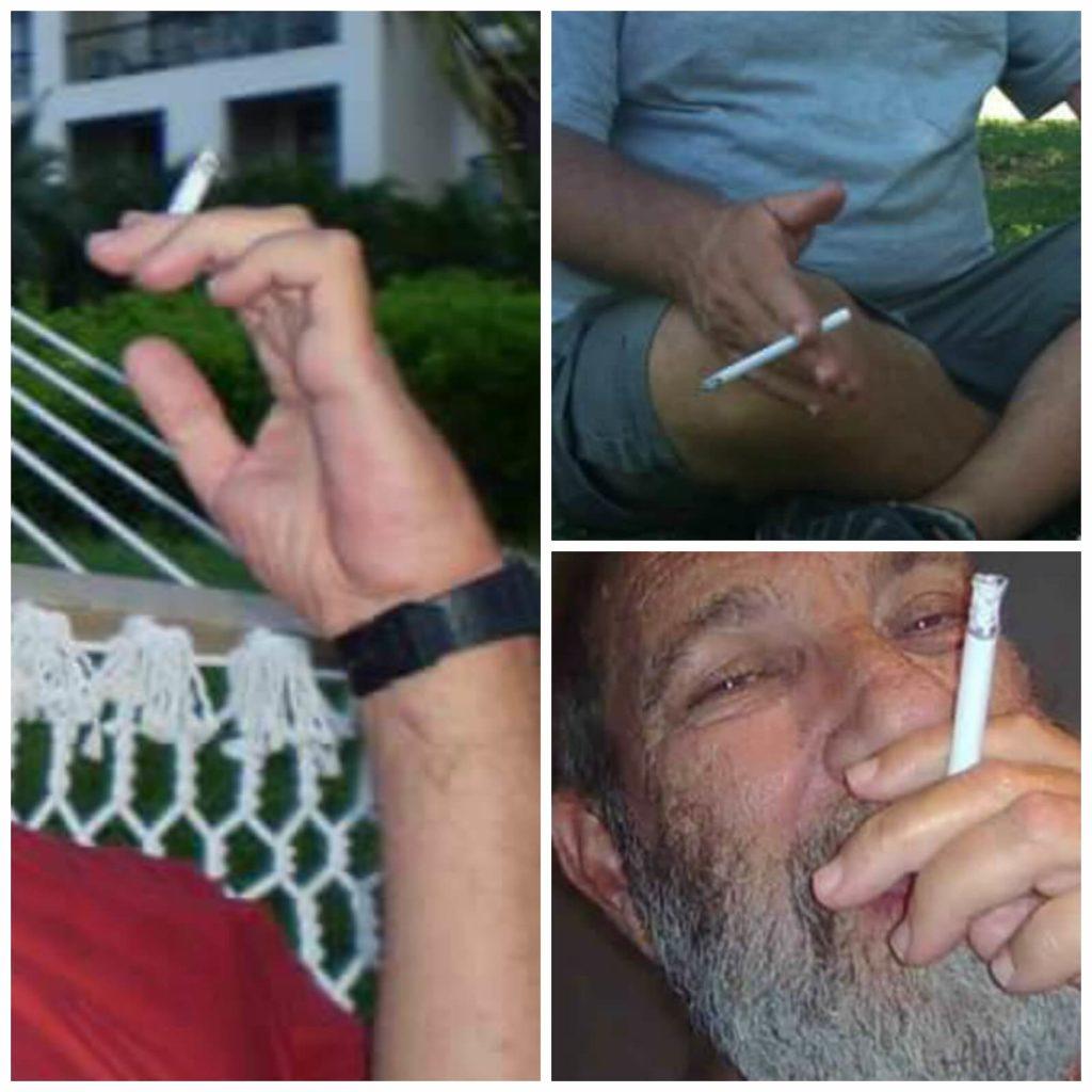 קולאז' של תמונות ידיים אוחזות סיגריה