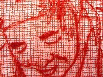 פרט רקמה אדומה מתוך עבודה מוקדמת של Kelsey Wiskirchn