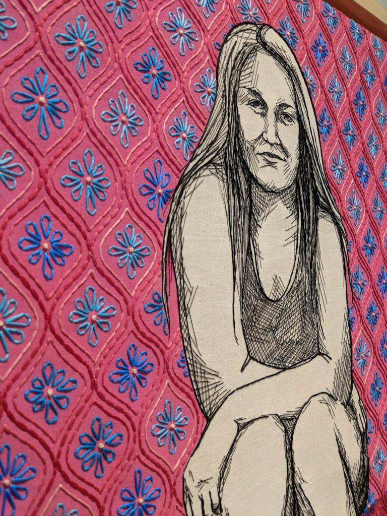 דיוקן אישה בעבודת רקמה וצבע של Kelsey Wiskirchn