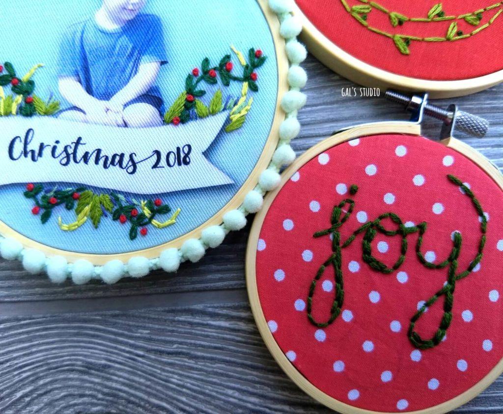 חישוקי רקמה עם ברכות לחג המולד