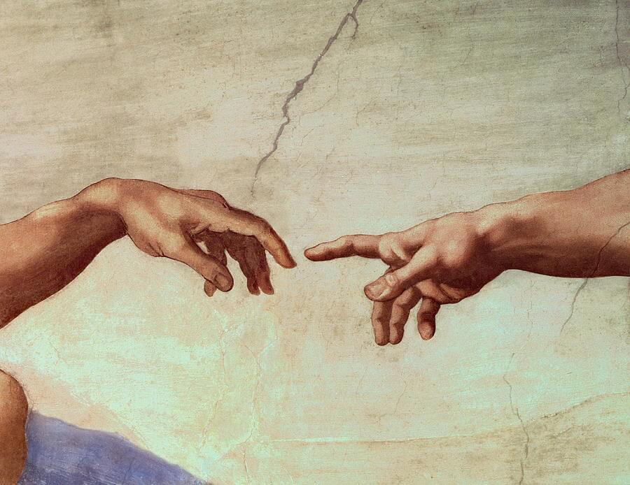 פרט מתוך ציור היד האלוהית של מיכלאנג'לו