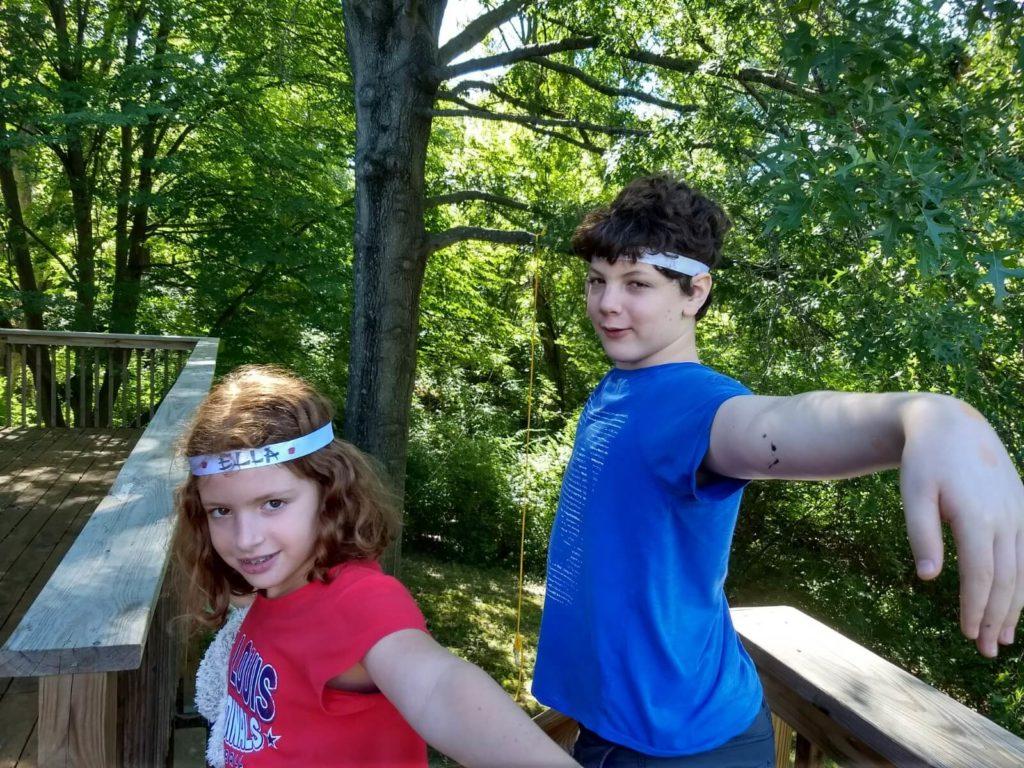 הילדים שלי עם סרטי נינג'ה