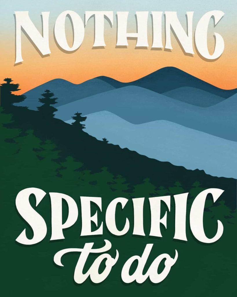 כרזה גרפית של אמבר שר עם הכיתוב: nothing specific to do